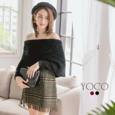 東京著衣-yoco 微性感時尚魅力毛海翻領毛衣-S.M.L(共二色)