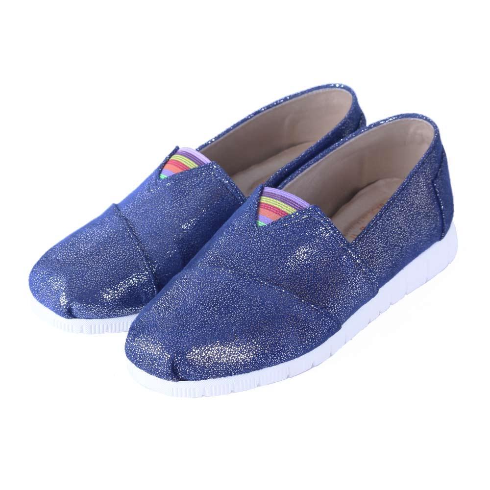 TTSNAP休閒鞋-MIT 亮彩時尚絨面軟Q平底懶人鞋 藍