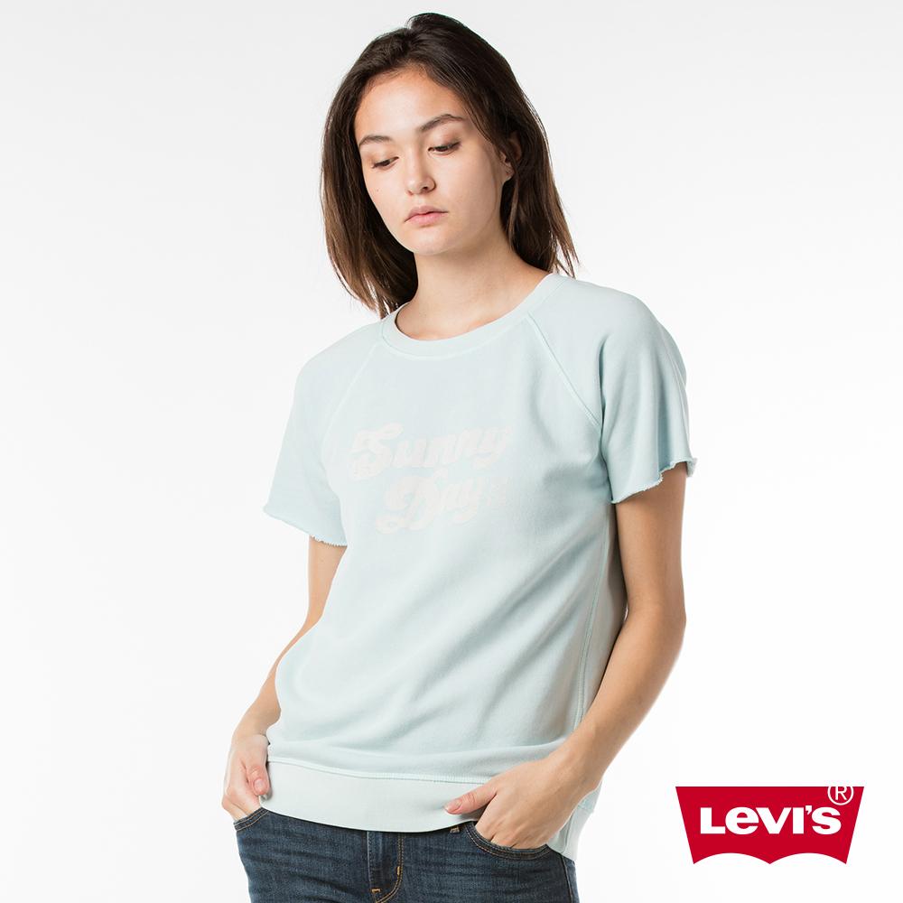 Levis 女款短袖T恤 做舊LOGO 不收邊袖口 -動態show