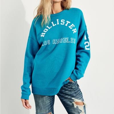 HCO Hollister 經典文字OverSize設計大學長袖T恤(女)-藍色