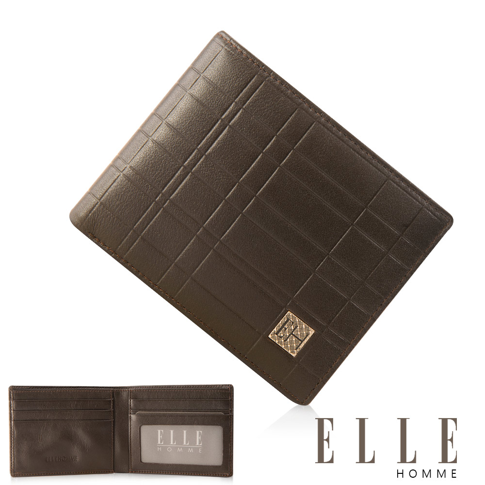 ELLE HOMME 格紋6卡窗格雙層鈔票真皮短夾- 咖啡色