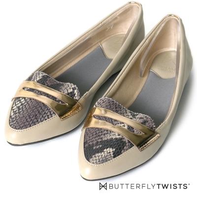 BUTTERFLY TWISTS-尖楦蛇紋壓紋記憶軟墊平底鞋-裸膚