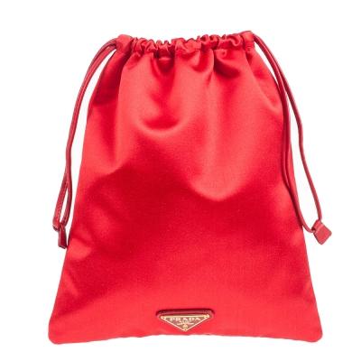 PRADA 經典三角鐵牌緞面尼龍束口化妝包 紅色