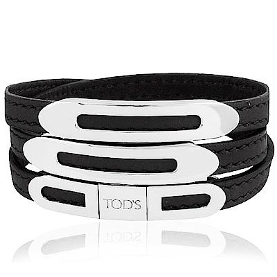 TODS 黑色真皮壓紋三環釦手環-L號