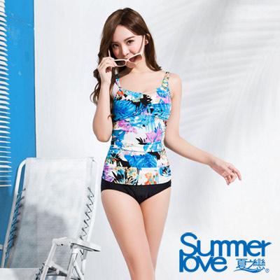 夏之戀SUMMERLOVE 比基尼泳裝 連身三角泳衣 藍色熱帶花朵圖騰