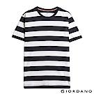 GIORDANO 男裝簡約條紋風格圓領T恤-39 標誌黑/白色