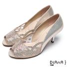 DIANA精品工藝-- 巴黎女伶水鑽微透明魚口跟鞋 –金