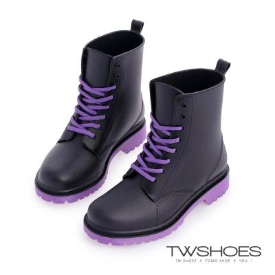 TW Shoes帥氣綁帶馬丁工程雨靴-黑紫