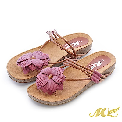 MK-真皮手作-山芙蓉繞藤帶厚底楔型拖鞋-紫咖色