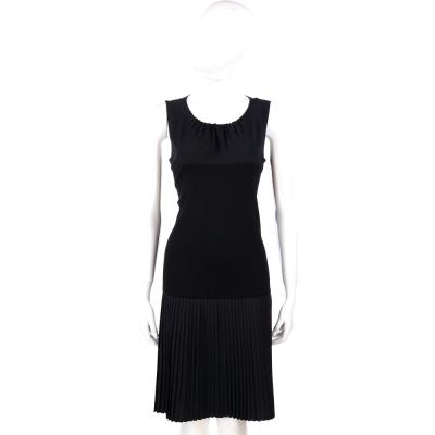 FABIANA FILIPPI 黑色拼接百褶裙無袖洋裝