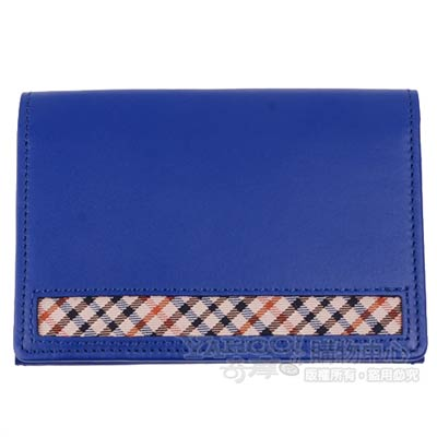 DAKS 經典品牌格紋LOGO皮革名片夾(寶藍)
