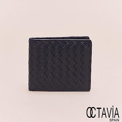OCTAVIA8真皮 - 男仕系列 頂級羊皮編織二折短夾 - 藍深藍