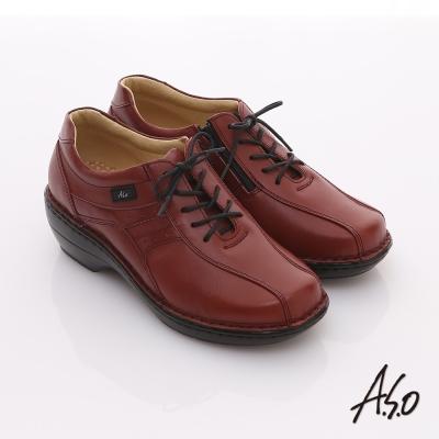 A.S.O 美型氣墊 全真皮綁帶拉鍊奈米氣墊鞋 紅
