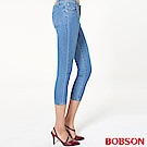 BOBSON 女款低腰大彈力牛仔七分褲