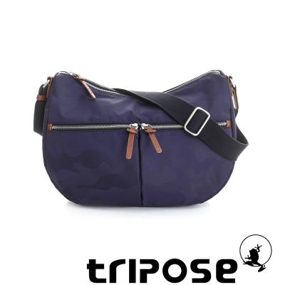 tripose 迷彩系列多格層拉鍊肩背斜背包 藍紫