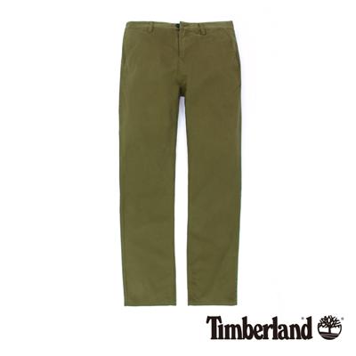 Timberland-男款橄欖綠素面斜紋修身休閒長褲