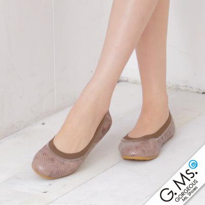 【G.Ms.】旅行女孩II‧動物紋全真皮可攜式軟Q娃娃鞋(附專屬鞋袋)‧蚚蜴可可