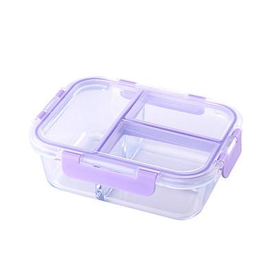 美國Winox 專利4D全隔玻璃保鮮盒長形3格1000ML(5色可選)