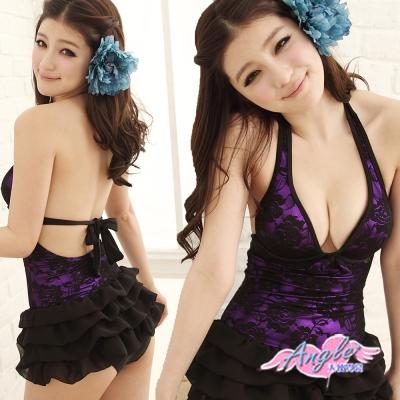 泳衣 夏日玫瑰園 一件式甜美連身泳裝(紫M~XL) AngelHoney天使霓裳