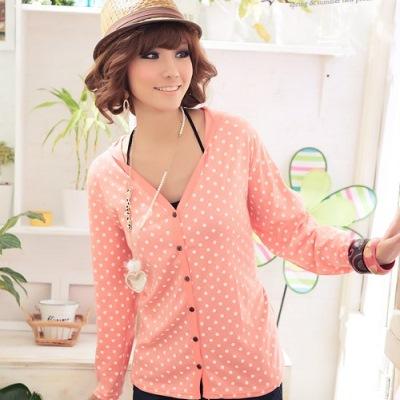 【La Belleza】甜美休閒˙水玉點點棉質連帽長版外套