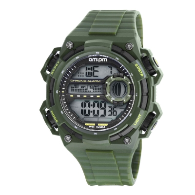 AM:PM瑞士精品手錶 DIGITAL運動系列 軍綠X黑框 電子式錶盤/軍綠色錶帶49mm