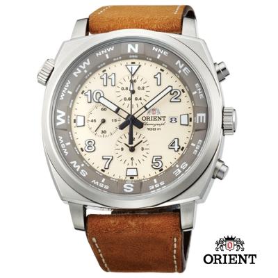 ORIENT 東方錶 HEAVY SPORT系列  東方霸王計時錶-米白色/45.5mm