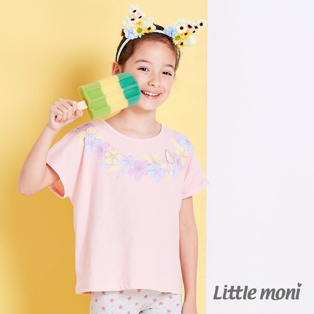 Little moni 花漾女孩暈染水印棉T 粉紅