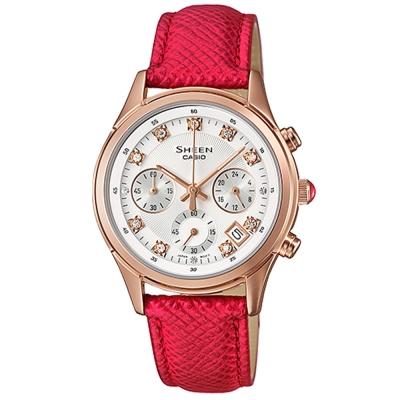 SHEEN華洛世奇水晶經典簡約三眼腕錶(SHE-5023GL-7B)紅X金框32mm