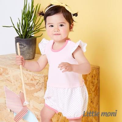 Little moni 甜美女孩拼接點點連身褲 粉紅