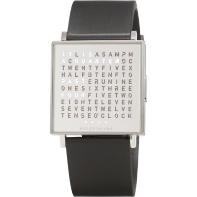 QLOCKTWO Watch 潮流時尚文字手錶-銀x黑/35mm