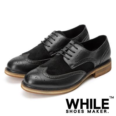 WHILE Vintage皮革拼接翼紋德比皮鞋 - 黑色