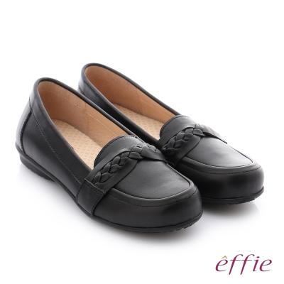 effie 彈力舒芙 牛皮編織條帶奈米彈力平底休閒鞋 黑色