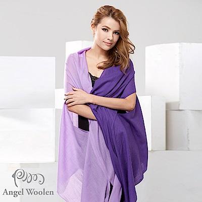 Angel Woolen 雙色多變造型100%Wool羊毛披肩圍巾-紫