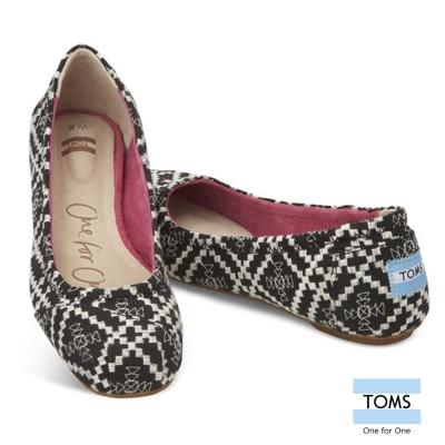 TOMS 菱格帆布芭蕾娃娃鞋-女款(黑)