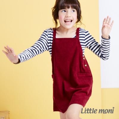 Little moni 甜心女孩條絨背心吊帶裙 磚紅