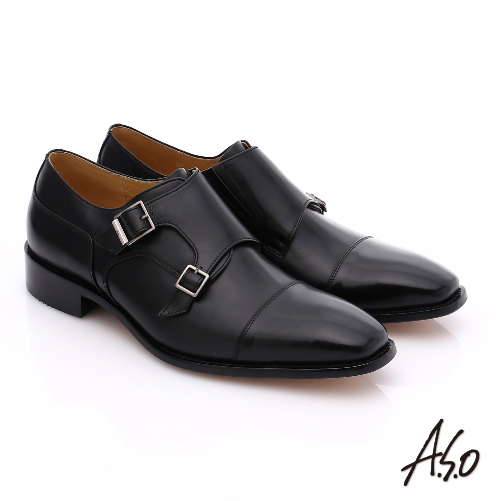 A.S.O 尊榮青紳 全牛皮雙排釦紳士鞋 黑色