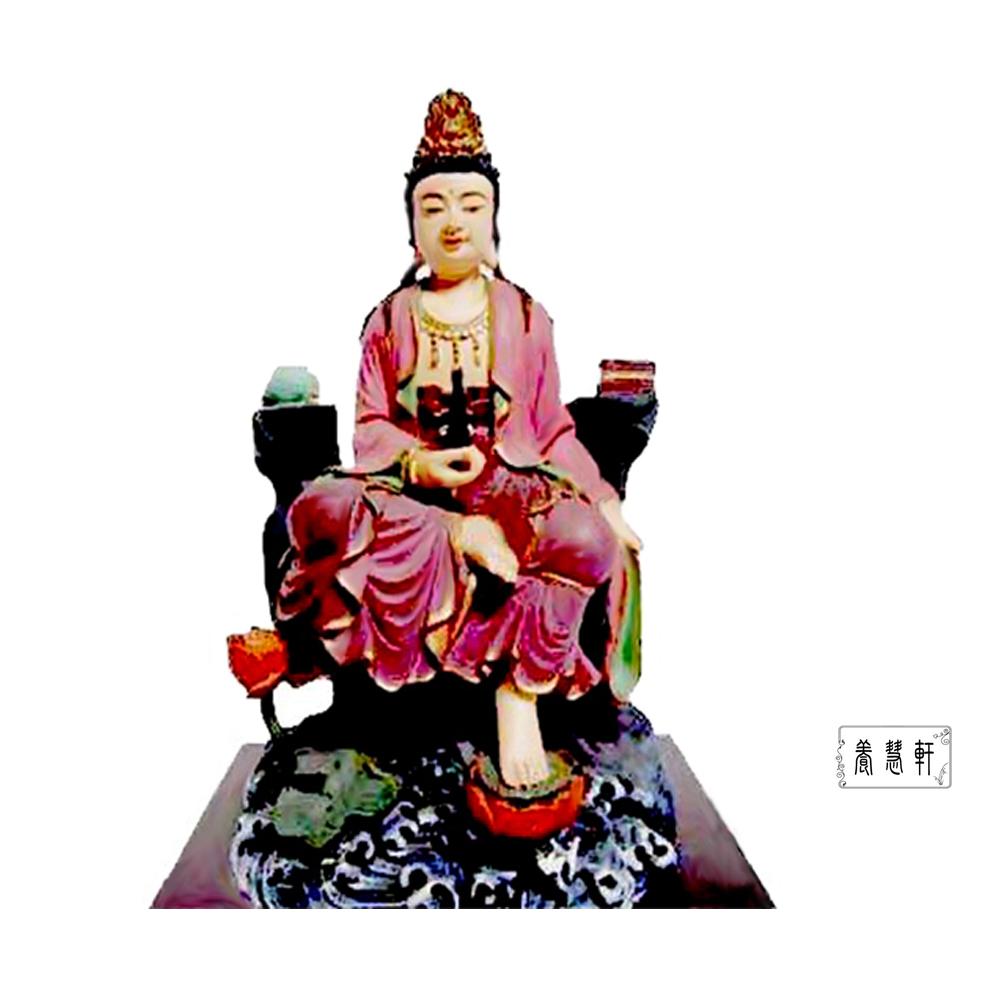 養慧軒   金剛砂陶土精雕佛像-自在觀音菩薩(彩繪‧含底座)