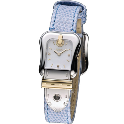FENDI B.Fendi 完美女人時尚腕錶-白x藍色錶帶/22x32mm
