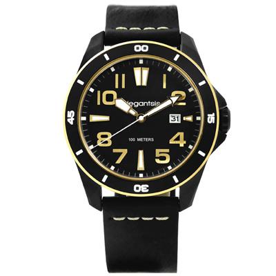 elegantsis 潮流自由新騎士風格真皮手錶-黑色/47mm