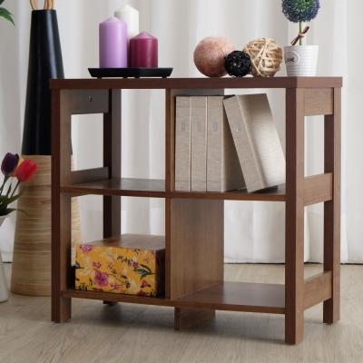 EASY HOME 二層四格隔間展示收納櫃-胡桃色(60x29.6x56.1cm)-DIY