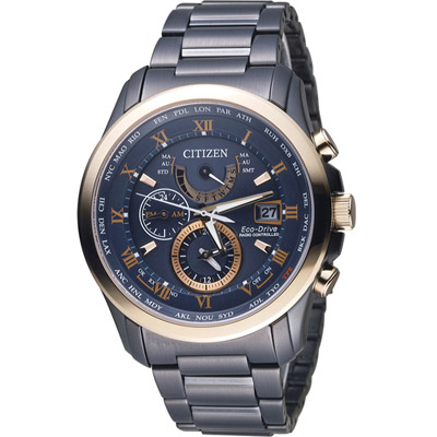 CITIZEN-星辰-光動能時尚限量計時男錶-AT9088-80L-黑-44mm