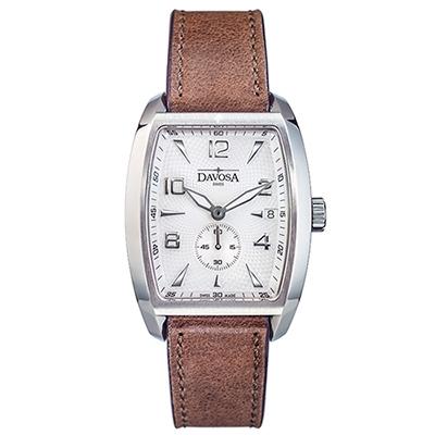 DAVOSA Evo 1908 復刻獨立酒桶小秒針手表-白x咖啡皮帶錶/36mm