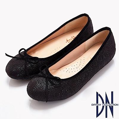 DN 時髦優雅 質感異材蝴蝶結平底鞋-黑