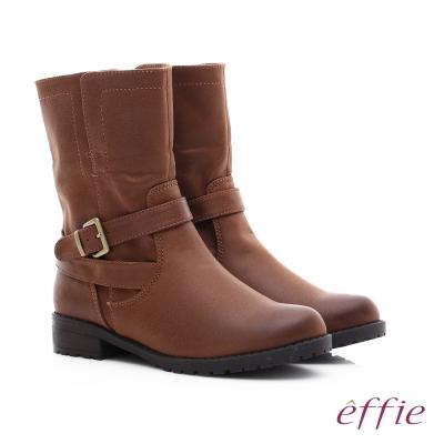 effie 混搭美型 仿麂皮絨布防潑水中筒靴 咖啡色