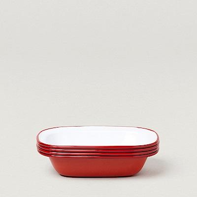 Falcon 英國 獵鷹琺瑯 方形深派盤4入組 20cm 紅白