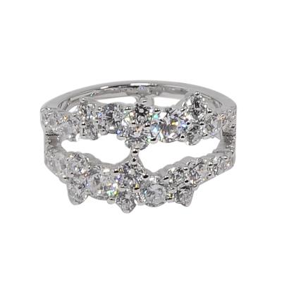 apm MONACO法國精品珠寶 閃耀銀色雙圈鑲鋯戒指