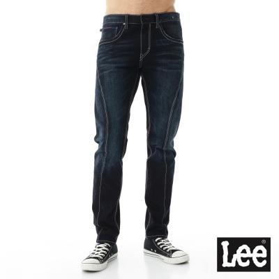 Lee 牛仔褲755 低腰多細節設計標準小直筒-男款-中藍