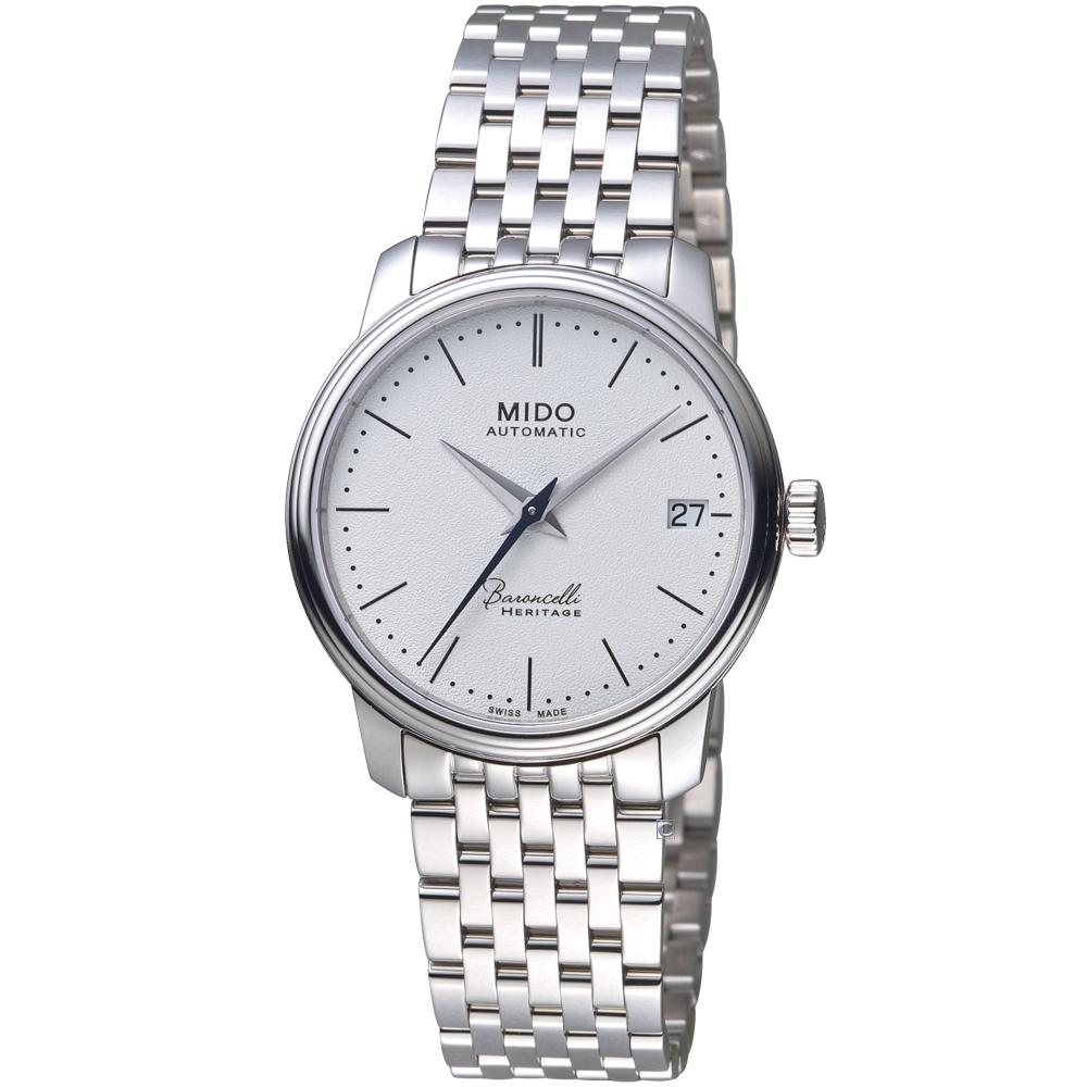 MIDO美度錶 BARONCELLI 永恆系列III簡約時尚女腕 -白/33mm