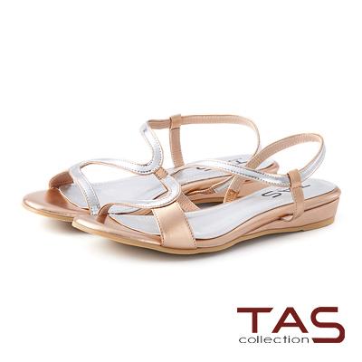 TAS 金屬感曲線繫帶小坡跟涼鞋-玫瑰金