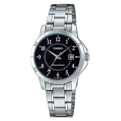 CASIO 經典復古簡約巧小指針日期腕錶-黑面(LTP-V004D-1)/31mm